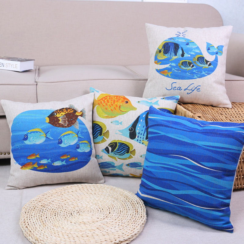 45cm Fresh Blue Whale Fashion Cotton Linen Fabric Throw Pillow Hot Sale 18 Inch New Home Decor Sofa Car Cushion Office Nap FR