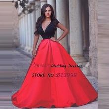 2016 New Arrival Red Vestidos De Fiesta Robe De Soiree Short Sleeves Satin Arabic font b