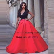 2016 New Arrival Red Vestidos De Fiesta Robe De Soiree Short Sleeves Satin Arabic Evening Dresses Sexy V-neck Party Gown AR320