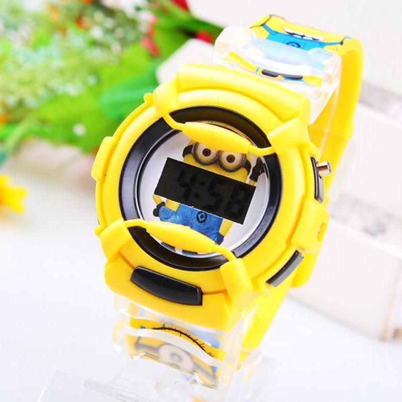 Wholesale NEW Cartoon 3D despicable me 2 minion Wrist watch kids children cartoon quartz watches christmas