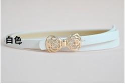 2014Hot Boutique Candy Color Metal Buckle Flower Bow Women's Faux Leather Thin Belt Waistband Female Straps Ladies Cummerbund(China (Mainland))