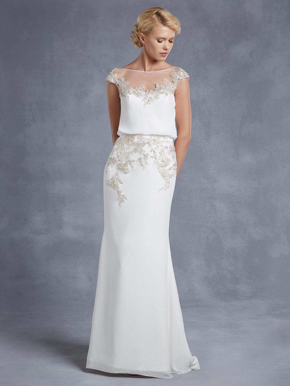 2016 spring summer wedding dresses chiffon applique beads for Backless sheath wedding dresses