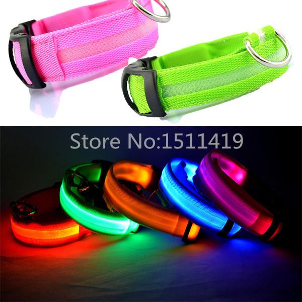 LED Light-up Dog Leash Flashing Glow In The Dark LED Nylon Perros Pet Dog Collar Night Safety Electric LED Pets Cat & Dog Collar(China (Mainland))