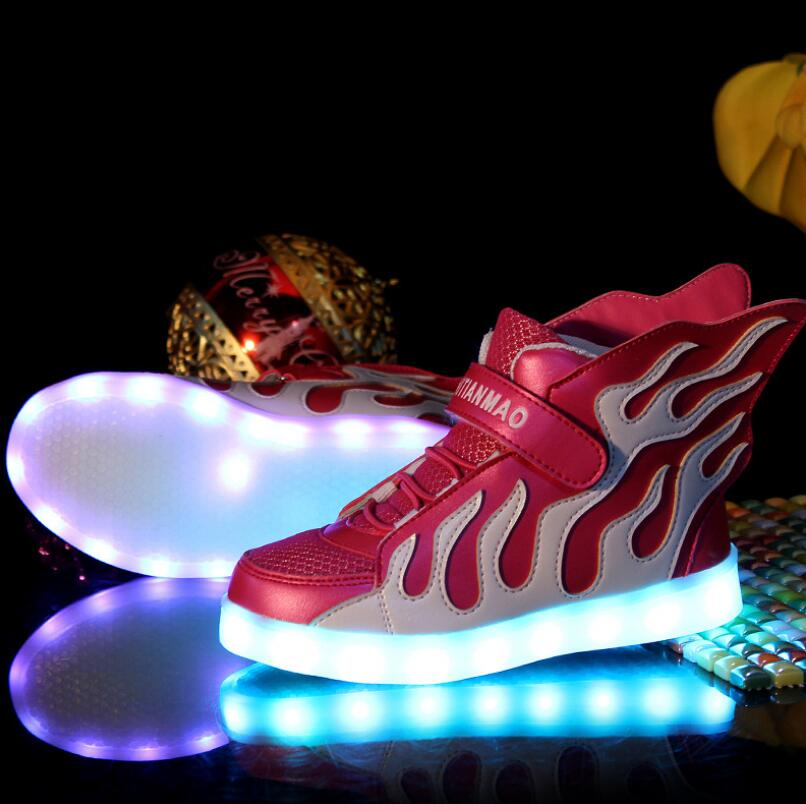 2016 Hot sale LED colourful wings children shoes comfortable fashion new brand kid waterproof snaker<br><br>Aliexpress