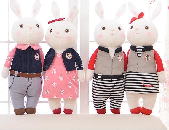 Metoo 1pc 34cm new arrive Tiramitu couple navy grid rabbit bunny sweet cartoon plush animal doll stuffed toy children women gift<br><br>Aliexpress