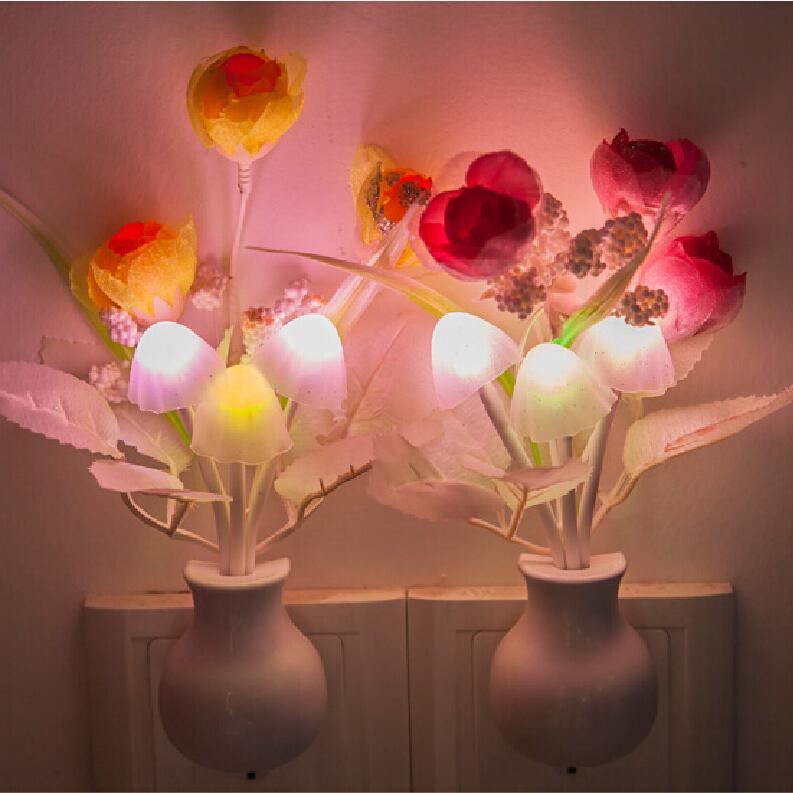 Led light switch control Lamp LED Night Light Sensor Control Mini 6kinds Colors Mushroom Night Lamp(China (Mainland))
