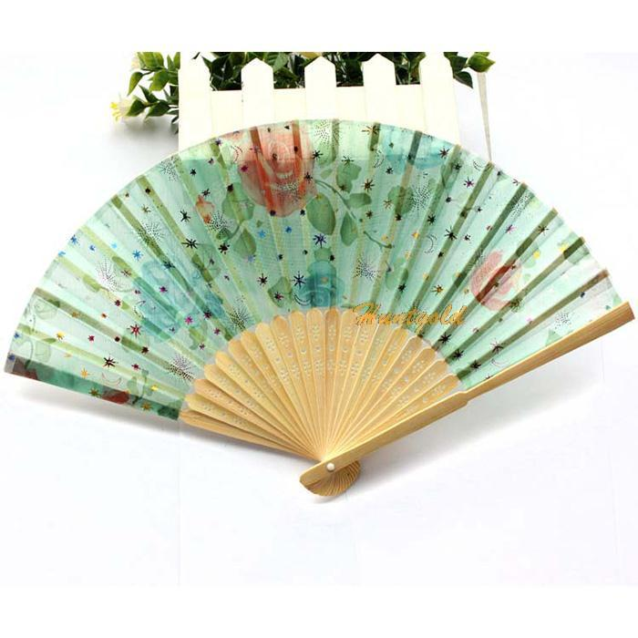 Chinese Bamboo Folding HAND FAN with Floral Flowers Wedding Party Gift New(China (Mainland))
