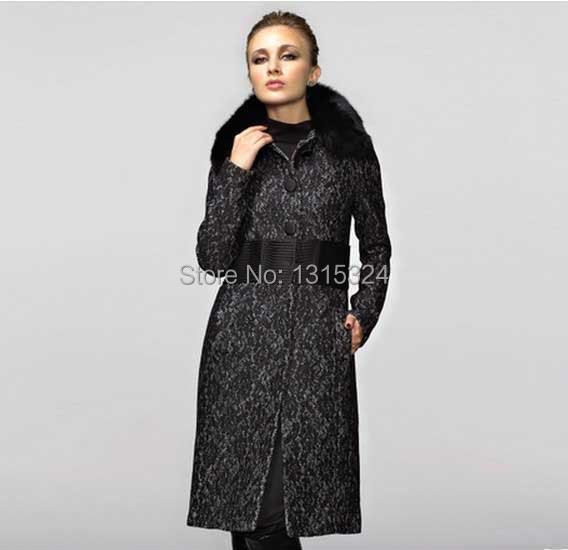 2013 European and American anti-quarter woolen winter coat models long section Slim woolen coat fur collar ladies Specials(China (Mainland))