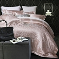 Jacquard duvet cover set 100 cotton satin bedding set queen king size bed sheets pillow case
