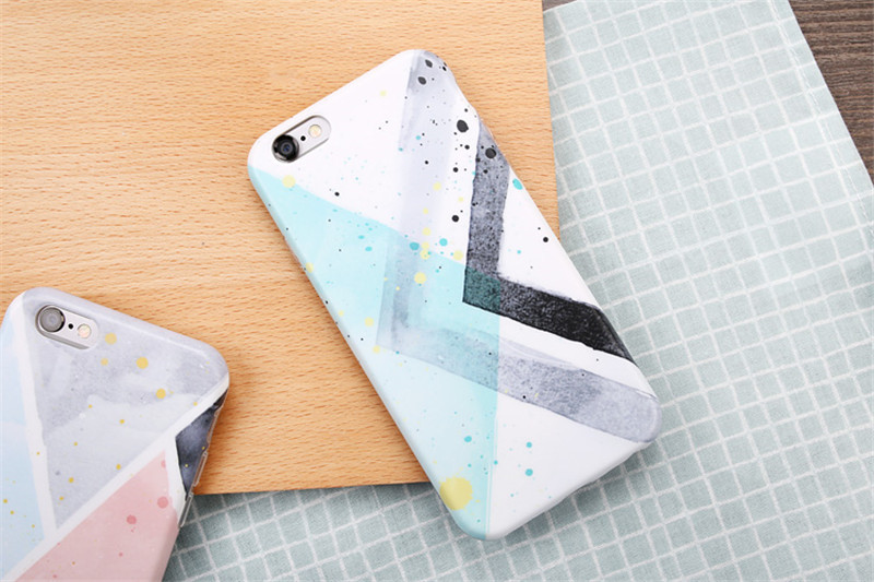 New Fashion Simple Geometric Splice Grid Pattern Funda Capa Rubber TPU Mobile Phone Cases Cover For iPhone 6 6G 6S 6Plus 5.5