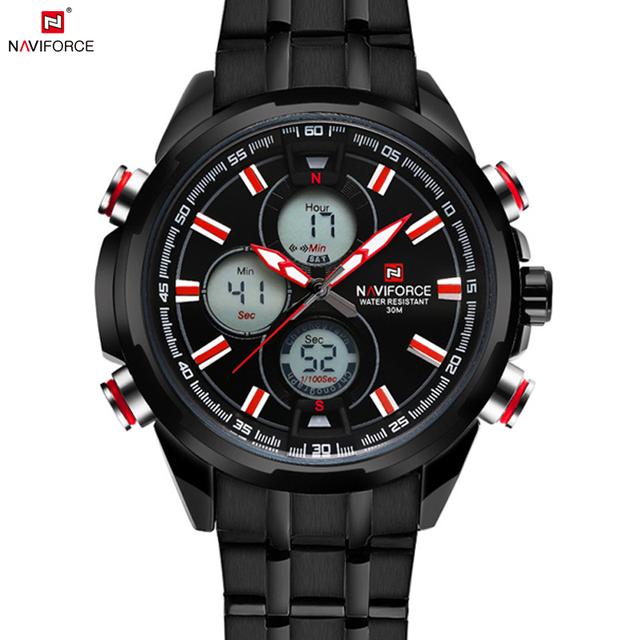 Relojes хомбре 2016 новый Naviforce календарная мужчины цифровые спортивные часы из светодиодов мужская черный военная наручные часы полный стали Relogio Masculino