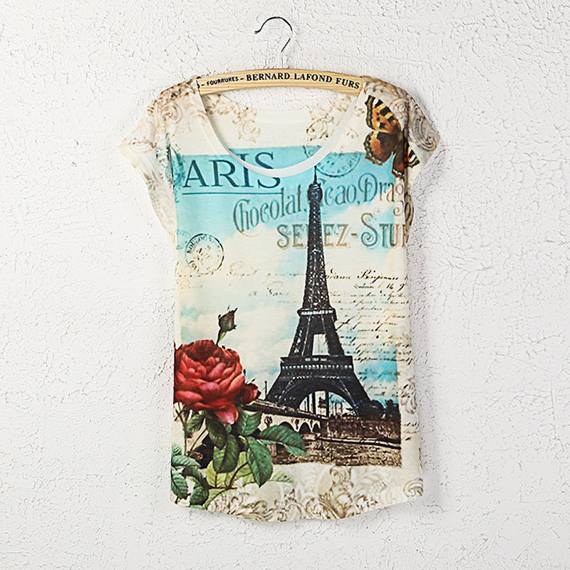 LANBAOSI 2016 Summer Women T shirts Paris Eiffel Tower Rose Printed O-neck Loose Tees Tshirt Casual T-shirt Ladies Clothes(China (Mainland))