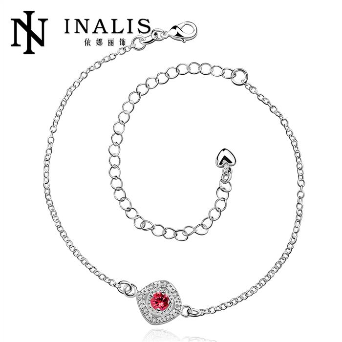 Foot Jewelry Silver Anklets For Women CZ Round Pendants Charms Ankle Bracelet(China (Mainland))