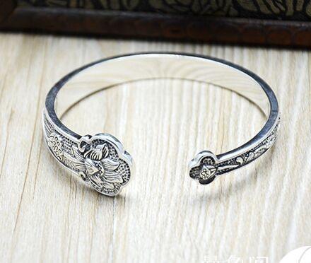 S925 Silver Thai silver bracelet  retro Chinese style wishful lotus shape  woman bracelets<br><br>Aliexpress