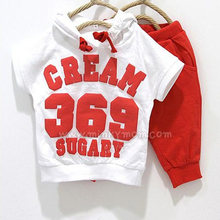 New 2016 summer children clothing set girls boys clothes baby wear kids sport suits T-shirt+pant CREAM 369 SUGARY(China (Mainland))