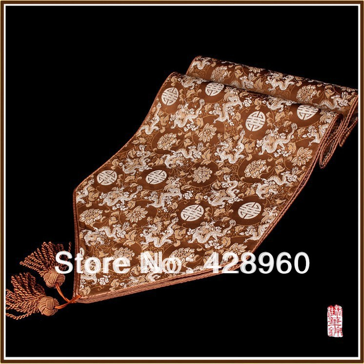 Free Shipping Chinese Style Silk Table Flag /Table Runner (custom size)(China (Mainland))