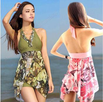 Free shipping  Women Sequins Tankini Top+Short Halter Pad Swimsuits Iregular Swimwear Plus size Y71