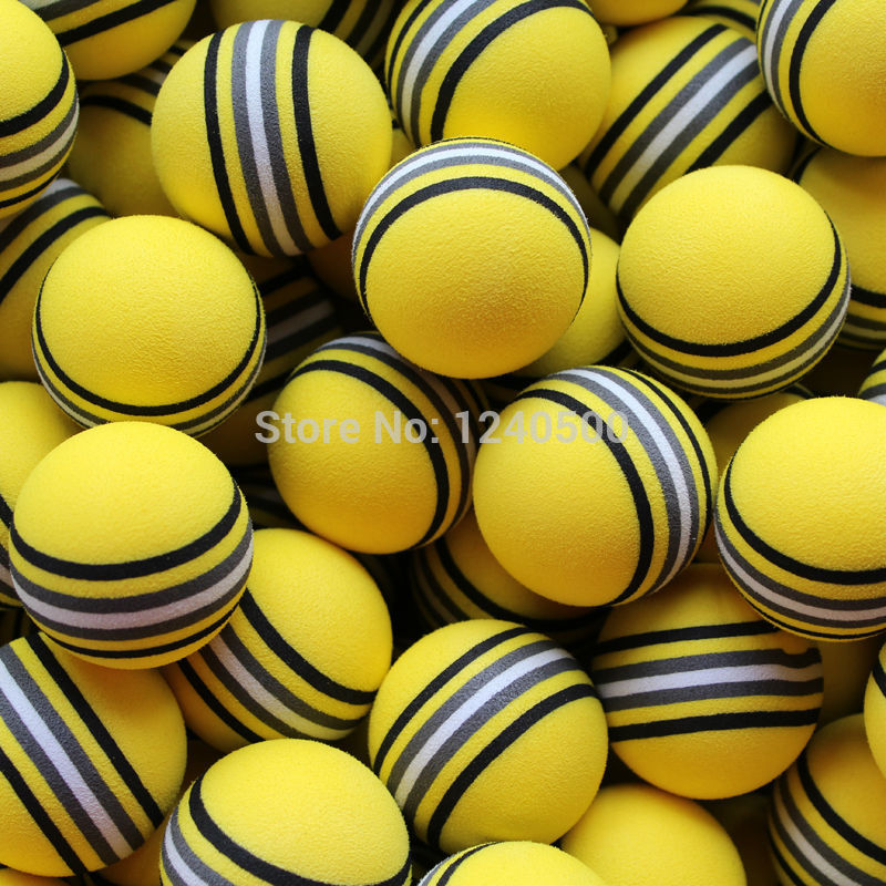 Free Shipping Hot NEW 50pcs/bag EVA Foam Golf Balls Yellow Rainbow Sponge Indoor Practice Training Aid(China (Mainland))