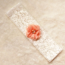 White chiffon flower bridal lace garter