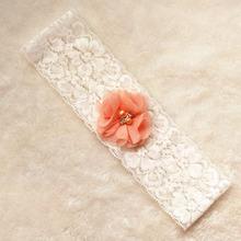 White chiffon flower bridal lace garter