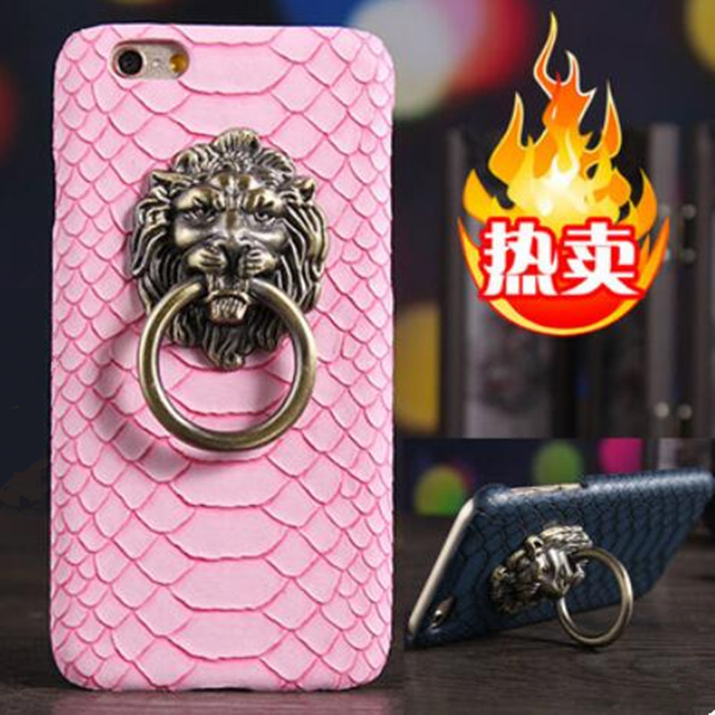 Luxury 3D lion head metal Ring holder Stand phone cases Snake Lizard Texture Leather Hard Cover Case For iphone 6 6S Plus 5S SE(China (Mainland))