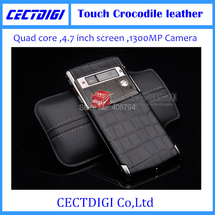 New Luxury phone Signature Touch crocodile leather MTK 6582 smart phone Multi language 13MP camera sapphire VIP luxury phone(China (Mainland))