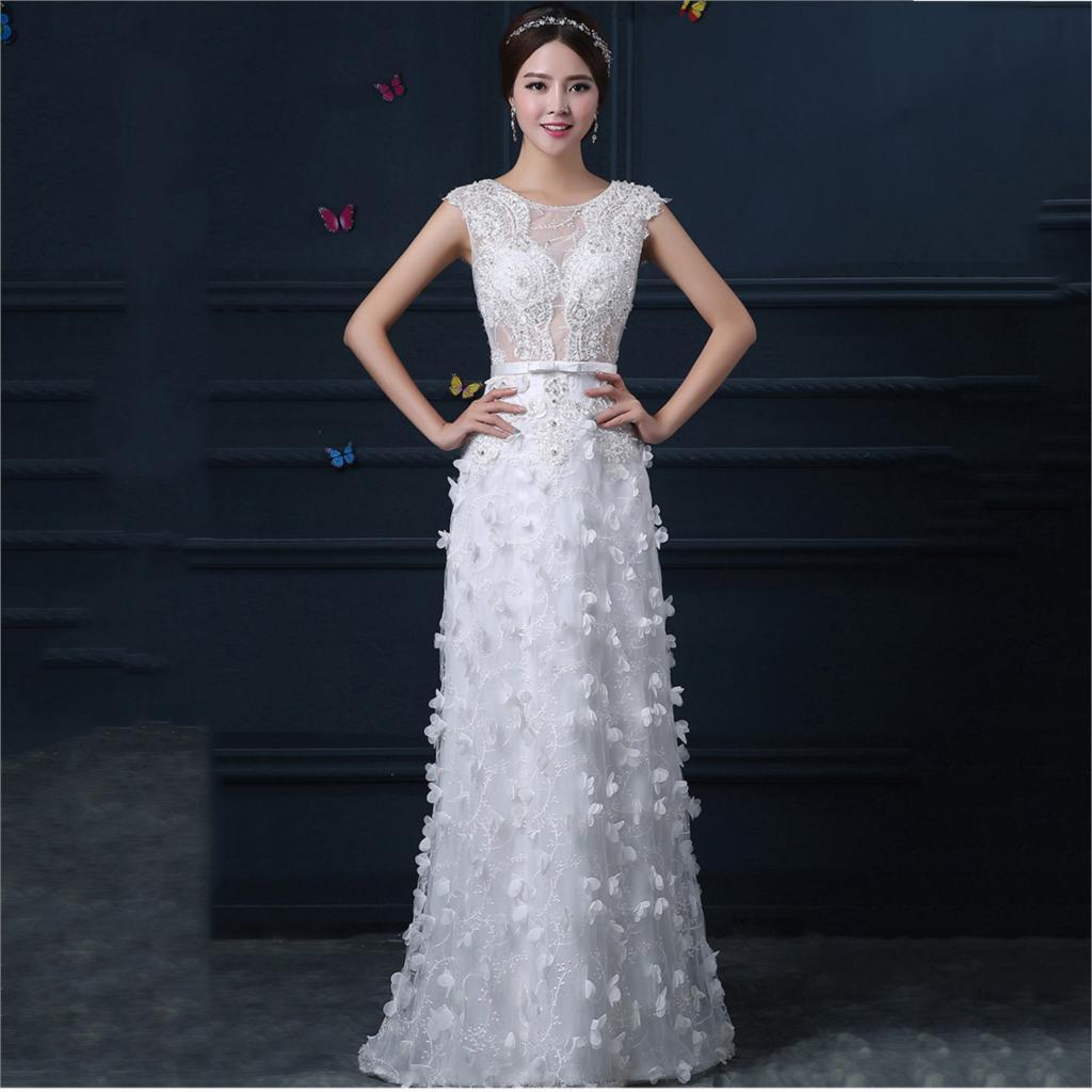 2015 белый хвостохранилища заказной невесты вечернее платье кружева выдалбливают длинные женщины платья для свадьбы без рукавов лук пояса