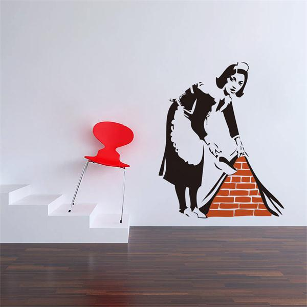 Free shipping Banksy maid wall sticker picture vinyl home decoration waterproofing wallpaper adesivo de parede wall stcikers(China (Mainland))