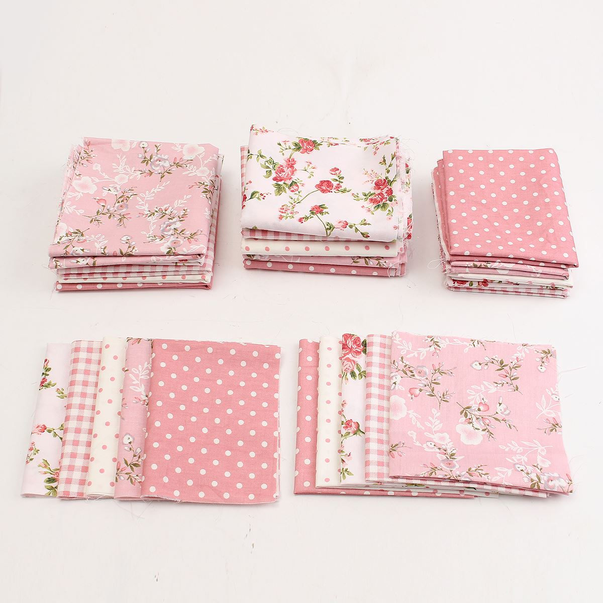 5Pcs Unique Pink Flower Floral Dot Cotton Fabric Patchwork For Quilting Household Sewing Clothing Doll Needlework DIY Material