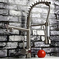 Deck Mounted Hot and Cold Water Spring Pull Down Kitchen Faucet Nickel Brushed Dual Spray Kitchen
