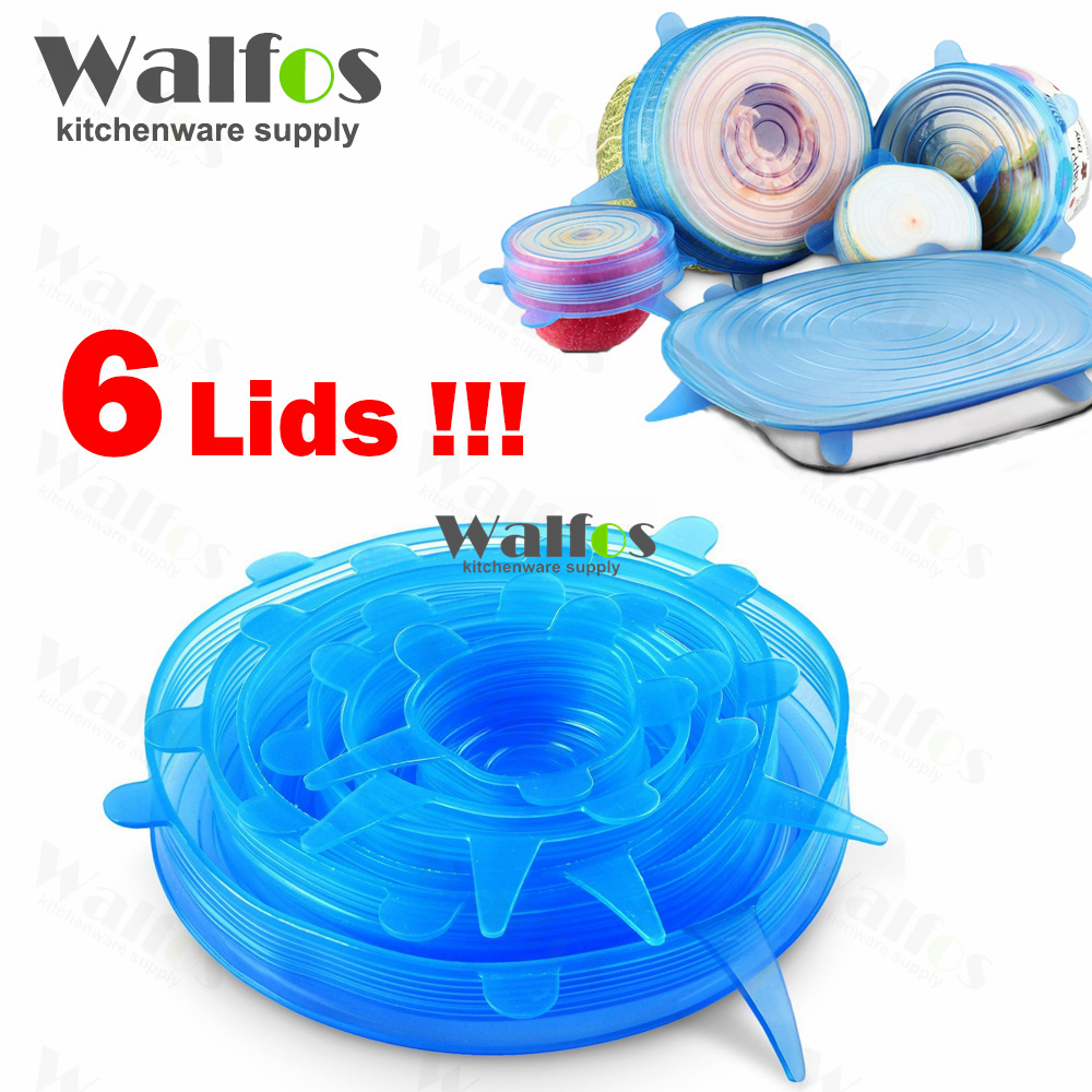 WALFOS 6pcs/lot silicone Cling Film Seal Vacuum Food Magic Wrap Multifunctional Transparent Food Fresh Keeping Plastic Wrap(China (Mainland))