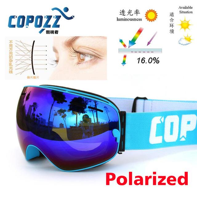 Поляризованные COPOZZ лыжные очки двойной линзы UV400 анти-туман большой lagre очки катание на лыжах мужчины женщины сноуборд очки GOG-201P