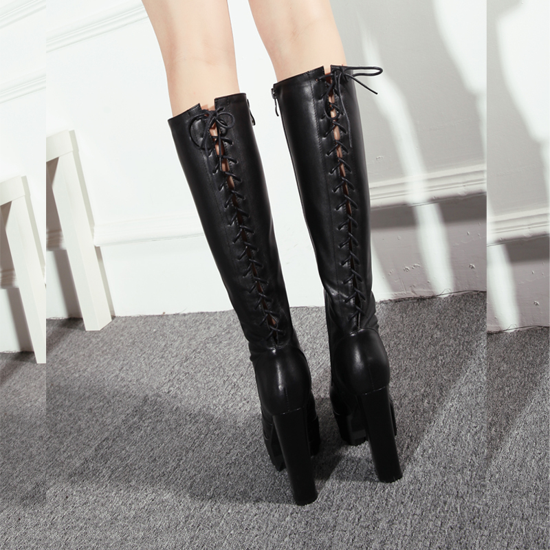 Best Selling Winter Genuine Leather Women Boots Red Bottom High ...