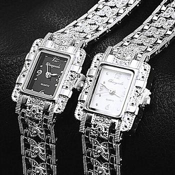 NEW Vintage Women Ladies Royal Fashion Square Dial Silver Stainless Steel Casual Bracelet Rhinestone Dress Watches Time Quartz