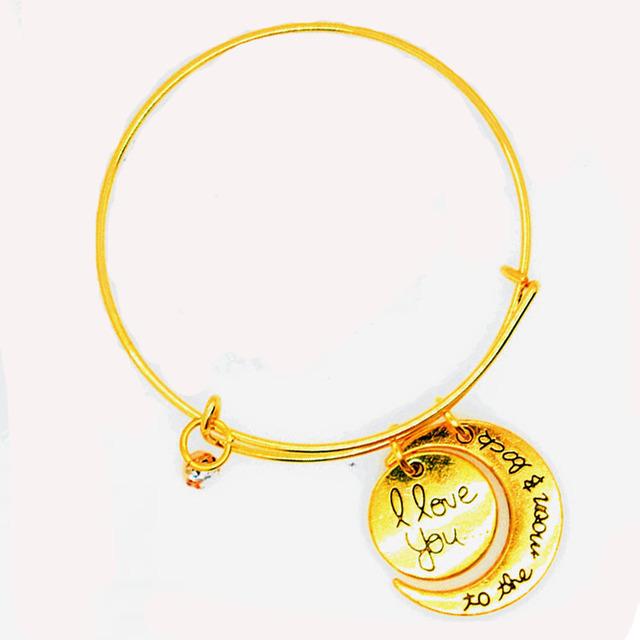 Значимые золотой и серебряный цвет навсегда любовь луна и земля шарм браслеты браслеты ...
