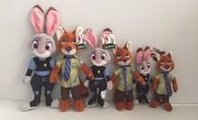 2016 New hot Zootopia Nick Wilde Embroidery Judy Hopps Plush Stuffed Animals Cartoon Doll Animation Toy kids Gift 16CM/23CM/30CM(China (Mainland))