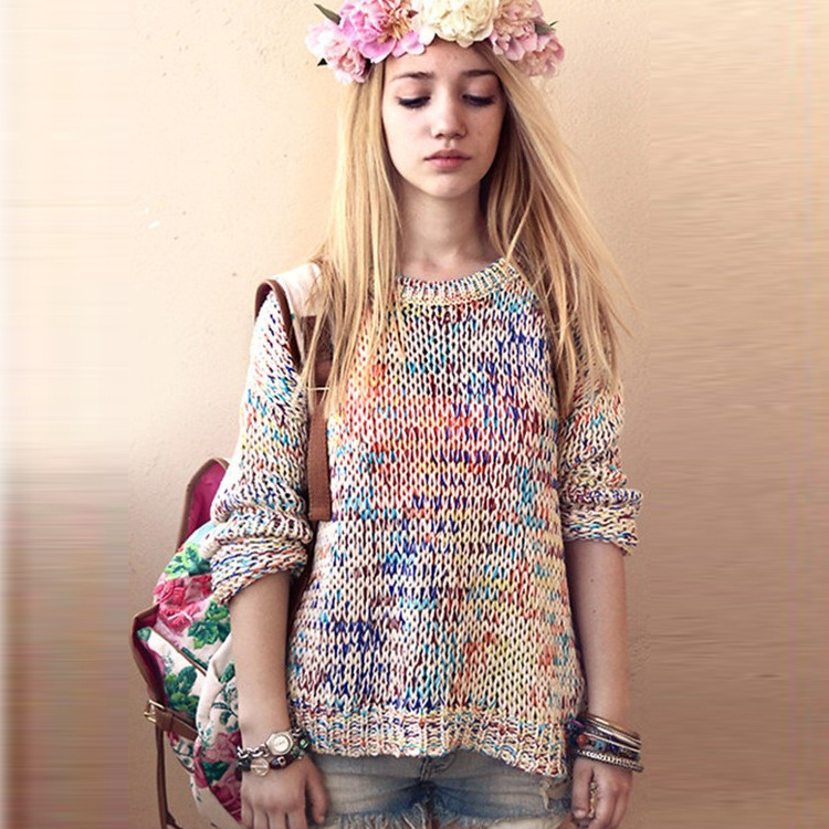 fashionable winter clothes loose colorful cable knit