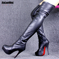 5 5 inch heel Plus size36 46 women boots over knee high boots girls female high