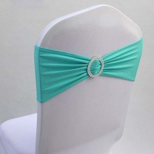 Free shipping 100pcs Tiffany Blue Elastic Stretch Chair Bow Sash Lycra Spandex Chair Bands With Plastic Round Buckle For Wedding(China (Mainland))