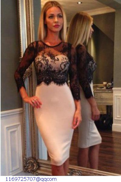 New 2015 Robe Sexy Women Party Dresses White/Black Lace Spliced Navy/Nude High Waist Patchwork Pencil Midi Dress Woman LC6978(China (Mainland))