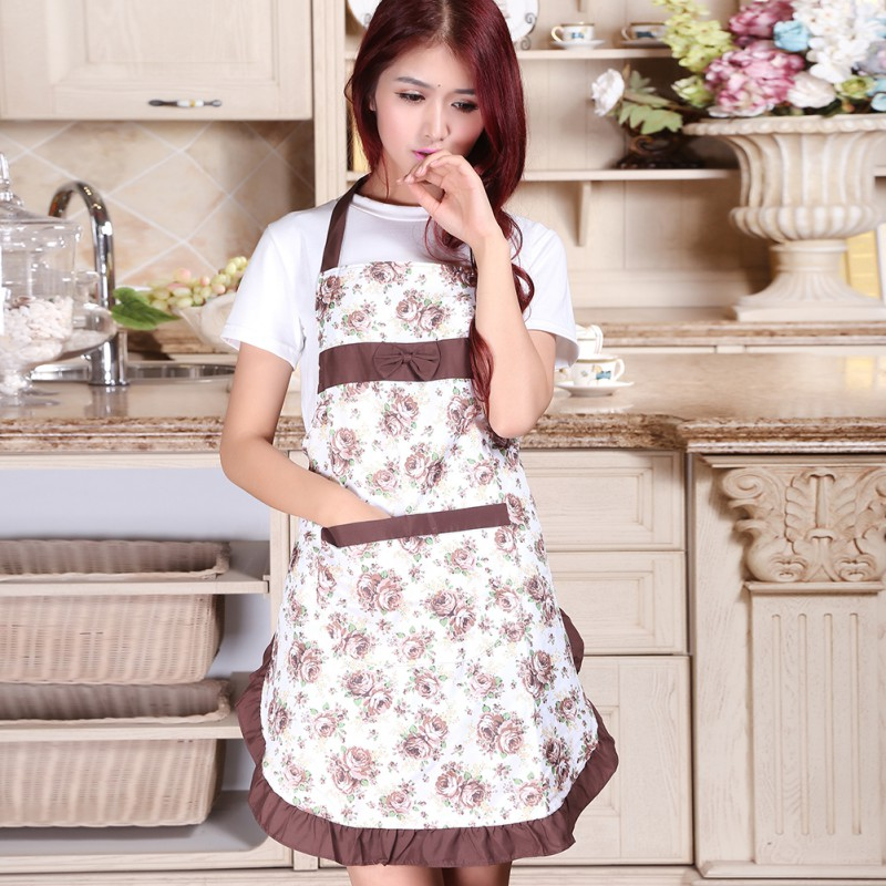 Women's Housewife Kitchen Chef Aprons Convenient Floral Cooking Restaurant Apron(China (Mainland))