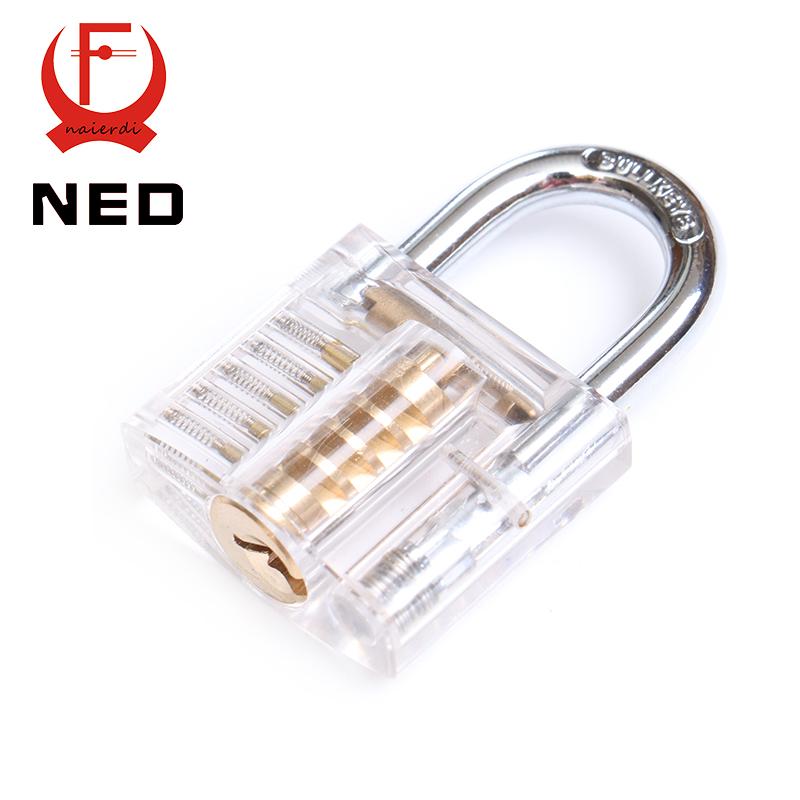 NED Beautiful Design Modern Style Transparent Visible Pick Cutaway Mini Practice View Padlock Lock Training Skill For Locksmith(China (Mainland))