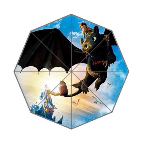 Free Shipping Three-folding Umbrella Clear UV Women's Sun Umbrella Print Cartoon How to Train Your Dragon Rainy Umbrella(China (Mainland))