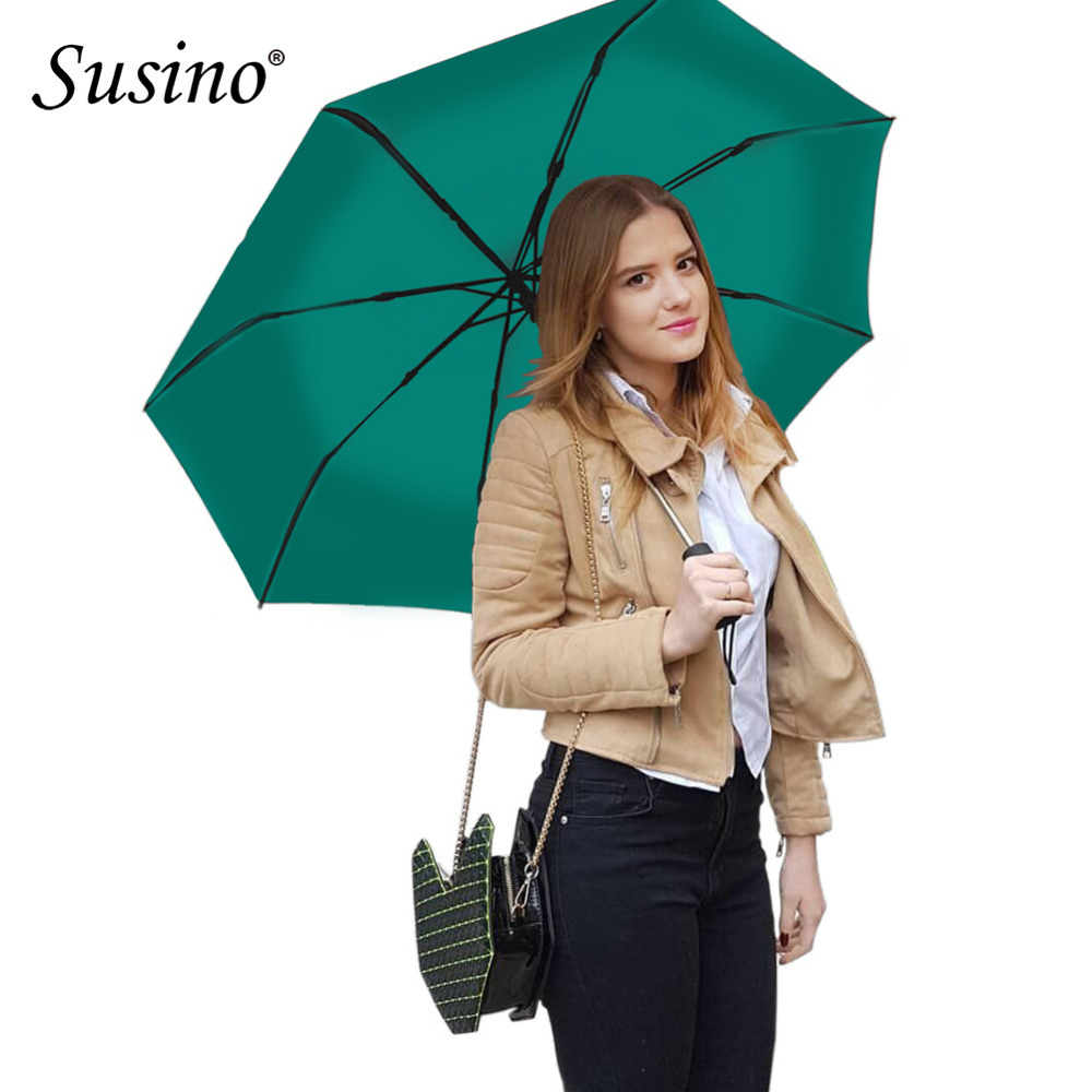 Susino Windproof Umbrellas Fully-automatic Open Sturty Metal Pongee Compact Durability Three-folding Umbrella S3511pm(China (Mainland))
