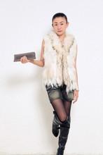 Ladies Genuine Knitted Rabbit Fur Vest Raccoon Fur Trimming Tassels Women Fur Natural Waistcoat Lady Gilet colete pele LJ869(China (Mainland))
