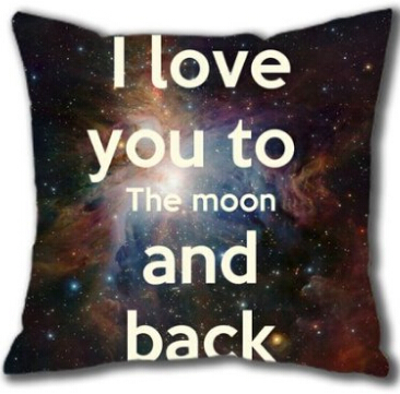 Top Sale Fashion I Love You To the Moon and Back Funny Pillow Sham Zippered Square Throw Pillowcase Two Sides Cushion Case(China (Mainland))