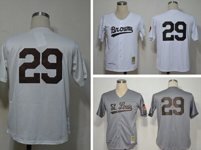#29 Satchel Paige St. Louis Browns throwback baseball Jerseys, white, beige / cream, gray colors, please read size chart(China (Mainland))