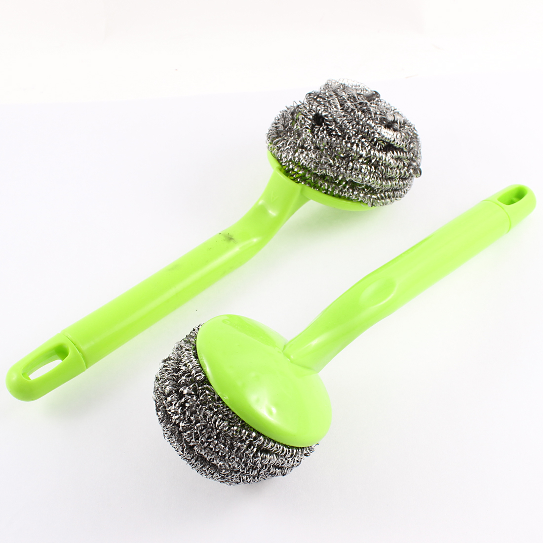 2 Pcs/lot Kitchen Plastic Grip Bowl Pot Cleaning Steel Wire Ball Scourer Brush(China (Mainland))