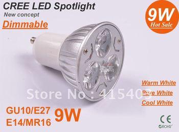 replacement 50W normal one GU10 / E27 / E14 / GU5.3 Rotundity CREE Light 9W 3x3W dimmable High power Spotlight LED Bulb Lamp