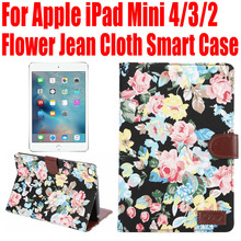 Smart Case For Apple iPad Mini 4 3 2 Flower Jean Cloth PU Leather Cover for iPad mini4 With Credit Card slots IM406(China (Mainland))